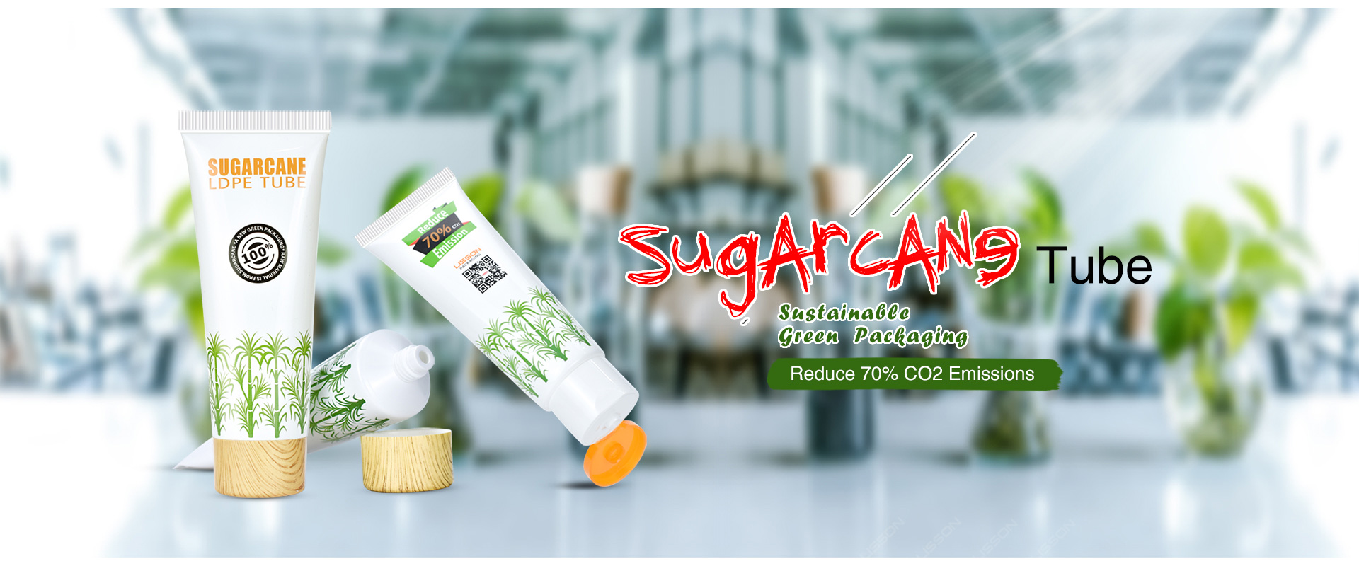 Green packaging Sugarcane Tube for Cosmetics